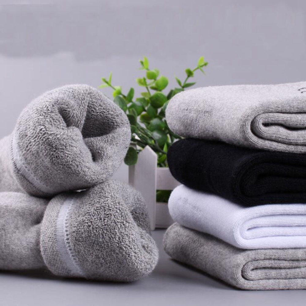 1 Pair Towel Socks Winter Men's Thickening Plus Velvet Cotton Socks Winter Men's Tube Socks Terry Warm Deodorant Socks