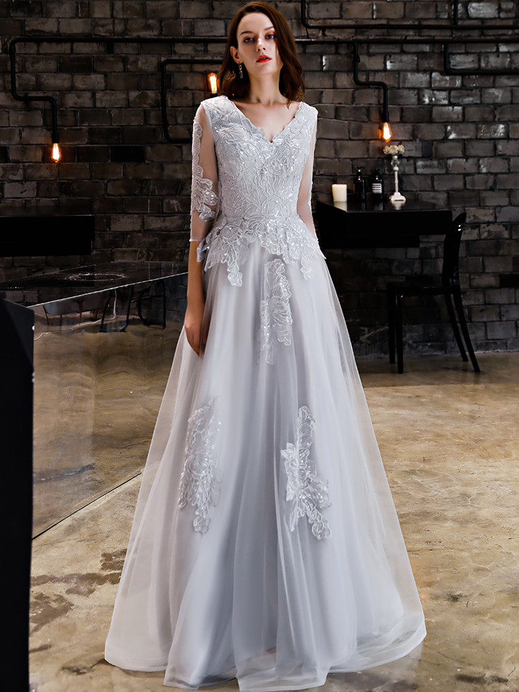Вечернее платье трапециевидной формы с v образным вырезом и длинными рукавами для женщин, официальное элегантное платье для выпускного, бан... - 6