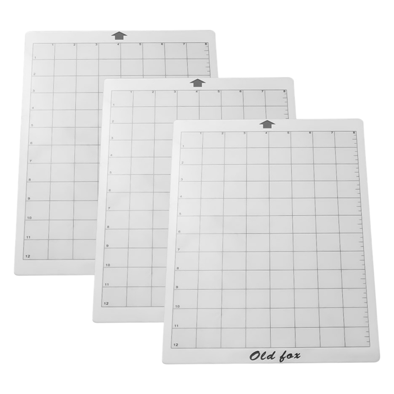 3Pcs Replacement Cutting Mat Adhesive Mat With Measuring Grid 8 By 12-Inch For Silhouette Cameo Cricut Explore Plotter Machine