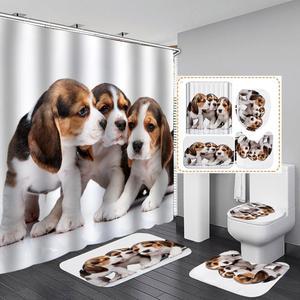 Cão cortina de chuveiro 4 peça tapete capa de vaso sanitário banho tapete almofada conjunto cortina do banheiro com 12 ganchos