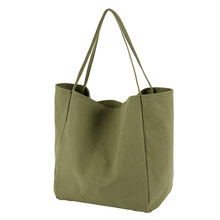 Big Canvas Shopping Bag for Women Younger Reusable Soild Extra Large Tote Grocery Bag Eco Environmental Shopper Shoulder Bags(China)