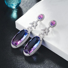 Luxury Cubic Zirconia Dangle Earrings for Women Wedding Tourmaline Drop Earrings Trendy Design XIUMEIYIZU Brand цена