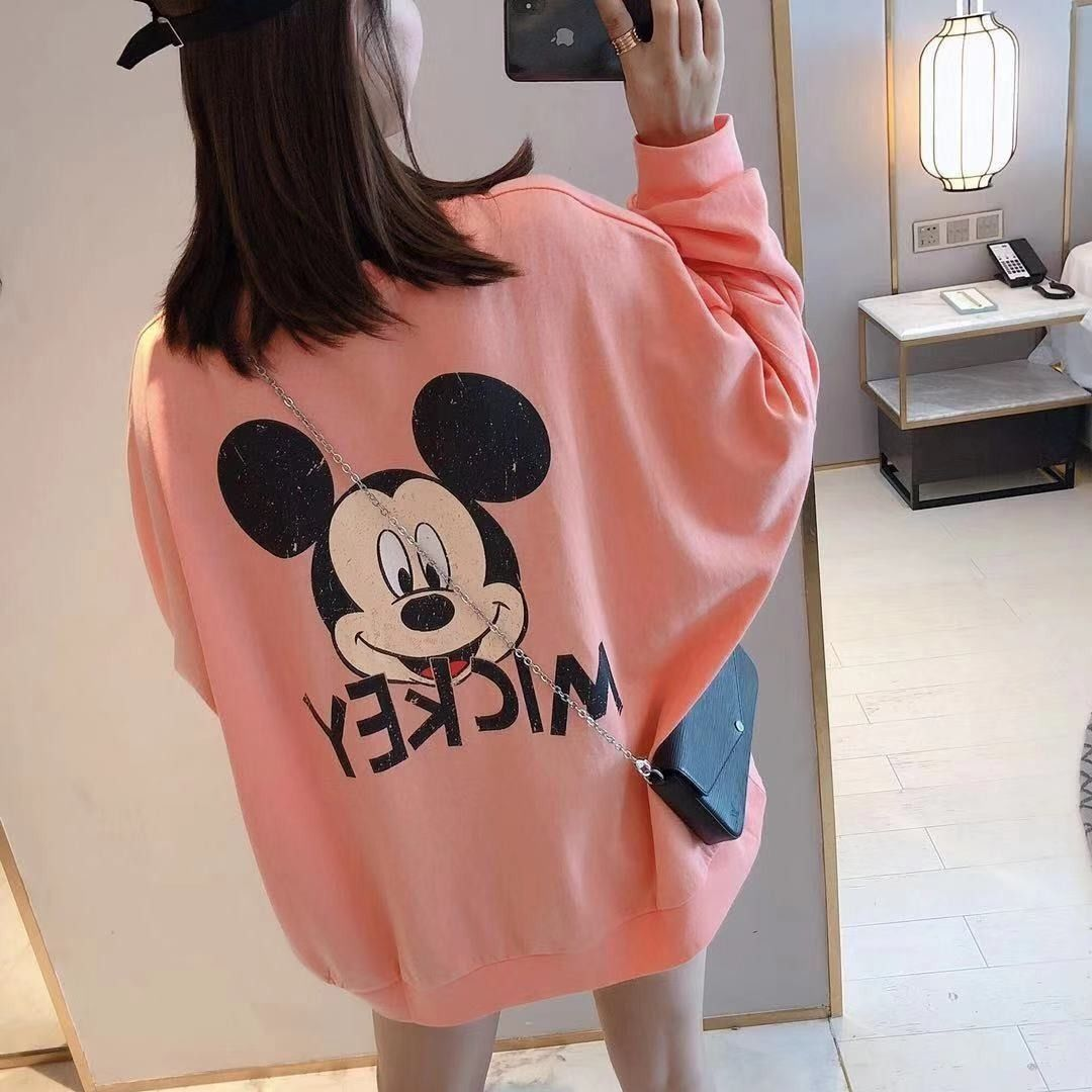 Women Spring Autumn T Shirt Loose Long Sleeve Mickey Mouse Casual Pullover Loose T Shirts Bat Sleeve Tops Plus Size Sweatshirts