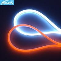 RONAN-tira flexible de luces LED de circulación diurna, tubo de goma de silicona, faro trasero, superbrillante, secuencial, blanco y amarillo, 60CM