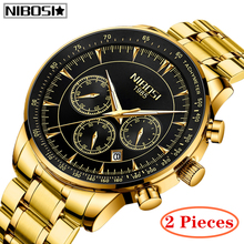 2Pcs NIBOSI Relogio Masculino Fashion Men Watch Top Brand Luxury Automatic Full Steel Business Waterproof Sport