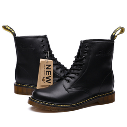2019 Boots Woman PU Leather Shoes Flat Platform Boots Ladies Autumn Winter Ankle Boots Dr.Motorcycle Lace Up Botas Mujer