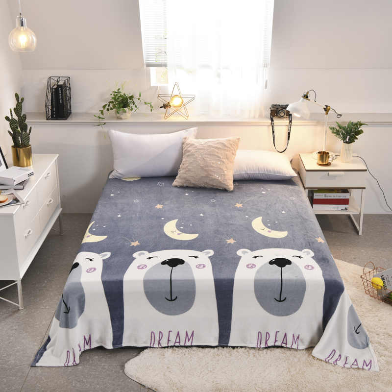 LREA  blanket плед grey lovely bear coral fleece for bedding or sofa travel be usd throw Autumn and the summer