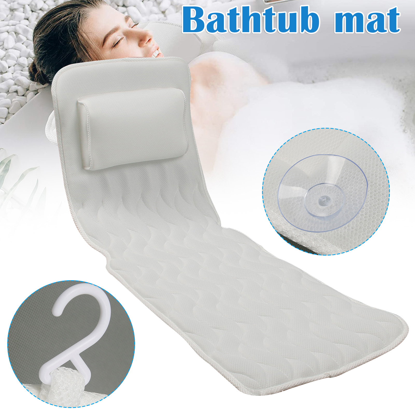 Full Body Bath Pillow Non-Slip Luxurious 3D Air Mesh Mat for Tub Neck and Back Support with 10 Non-Slip Suction Cups DNJ
