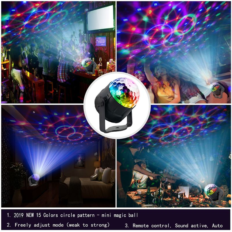 DJ Disco Stage Party 15 Colors LED Ball Light Remote Control Projector Lamp Set