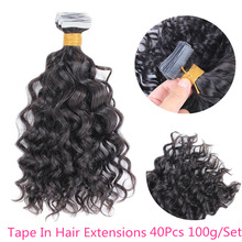 Human-Hair-Extensions Glue-On Wave Remy-Hair Tape-In Wavy Nature Brazilian for Women