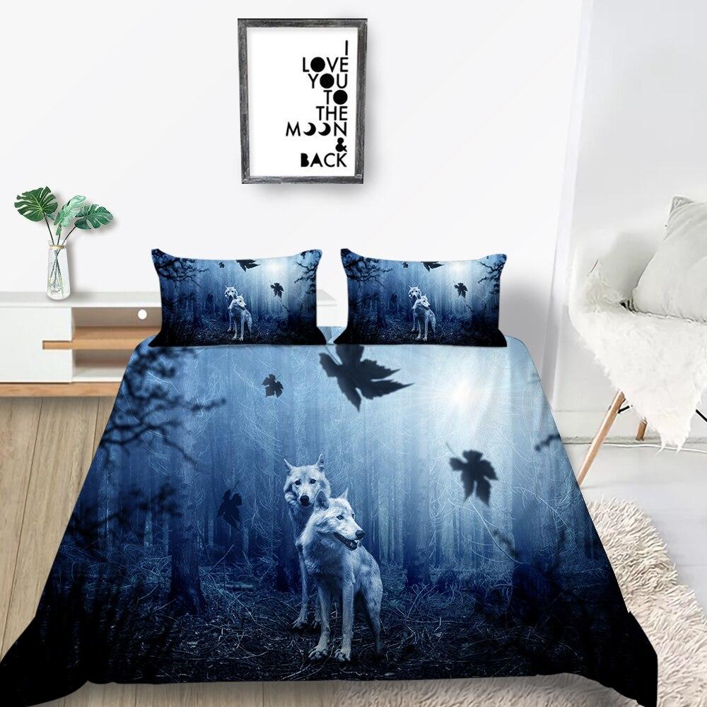 Erosebridal Kids 3 Piece Wolf Bedding Set,Wolf in Misty Forest Pattern Duvet Cover Set King Size Soft Luxury Microfiber Animal Theme Comforter Set for Teens Boys Girls