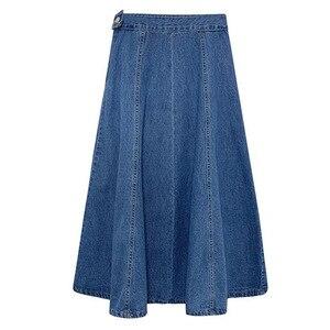 Джинсовая плиссированная юбка с высокой талией, элегантная ВИНТАЖНАЯ ДЖИНСОВАЯ длинная юбка до середины икры, повседневная Расклешенная ю...