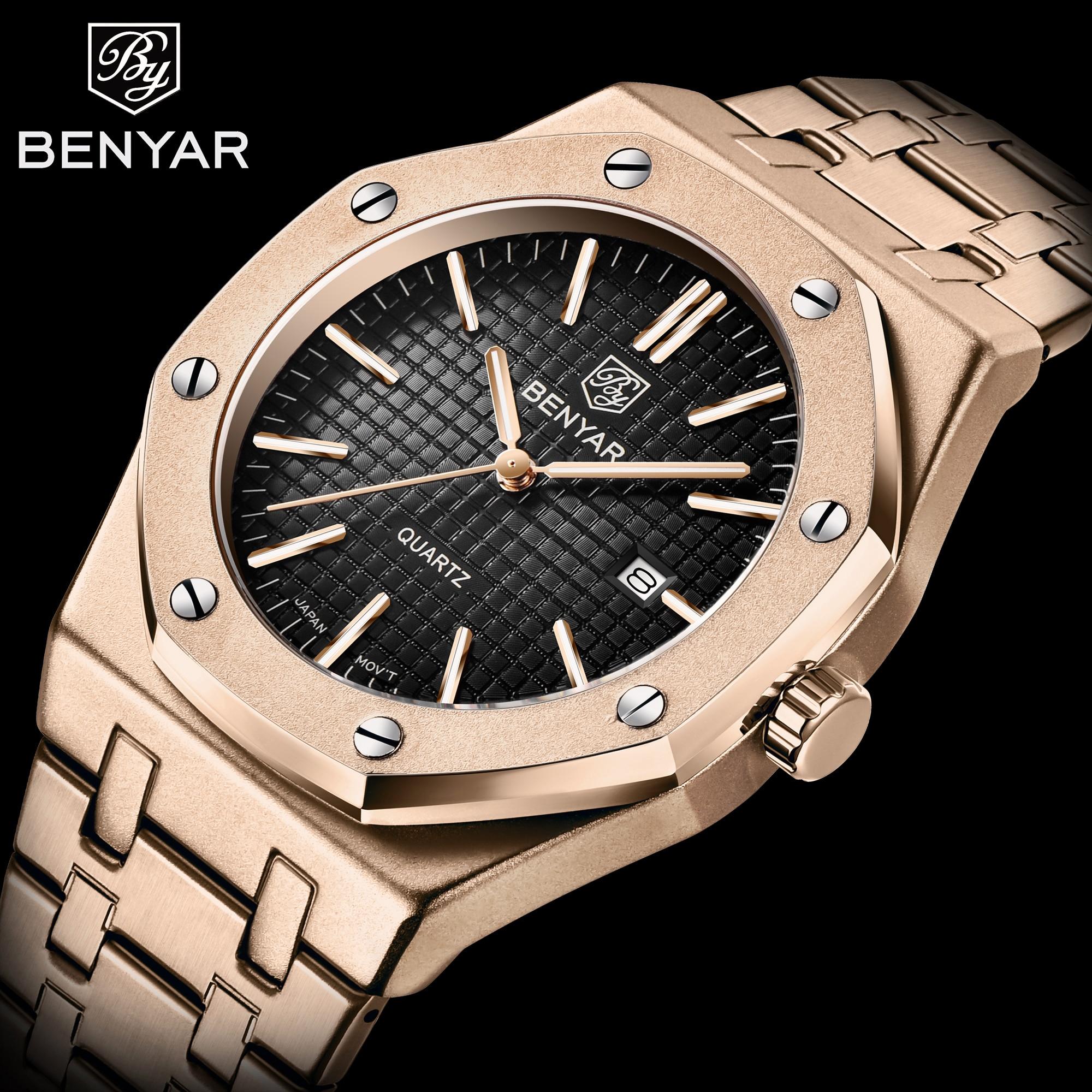 BENYAR Luxury Brand Mens Watches Business Quartz Watch Men Fashion Casual Watches Sport Waterproof Clock Man Relojes Hombre 2019