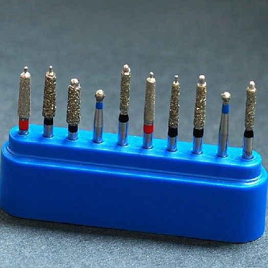 New Dental Diamond Burs Set Porcelain Shouldered Abutment Polishing Kit 10pcs