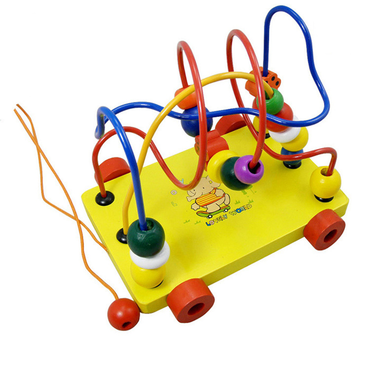Wooden Bead-stringing Toy Color Wood Hand Trailer Bead Maze Cart Multi-functional Bead-stringing Toy Beaded Bracelet Children'S
