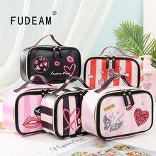 FUDEAM Leather Love Heart Portable Women Cosmetic Bag Multifunction Travel Storage Organize Portable Handbag Zipper Makeup Case
