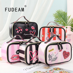 FUDEAM Leather Love Heart Portable Women Cosmetic Bag Multifunction Travel Storage Organize Portable Handbag Zipper Makeup Case