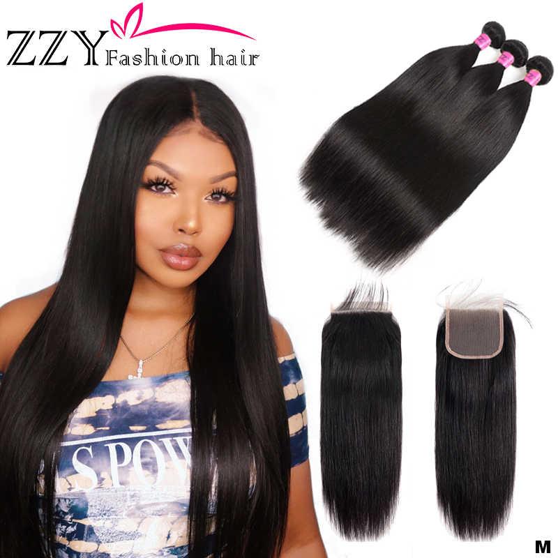 Zzy moda cabelo peruano pacotes de cabelo com fecho de cabelo em linha reta pacotes com fechamento tecer cabelo pacotes extensões não remy