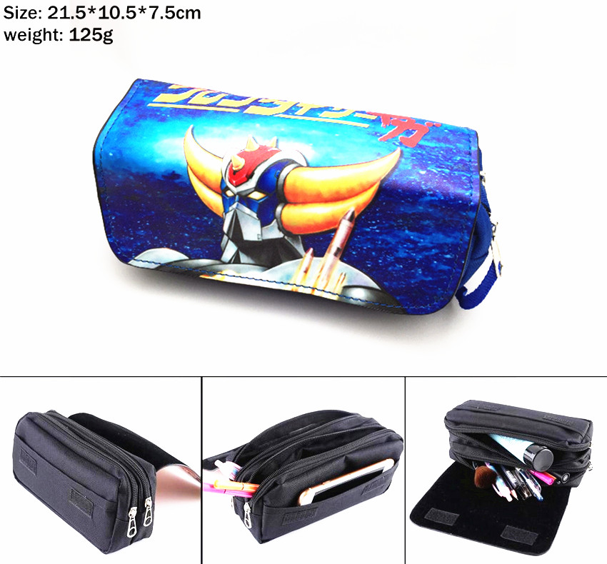 NEW UFO Robot Grendizer Canvas Pencil Case Student Penbag Women Portable Travel Makeupbag Zipper Cosmetic Bag Stationery Gift