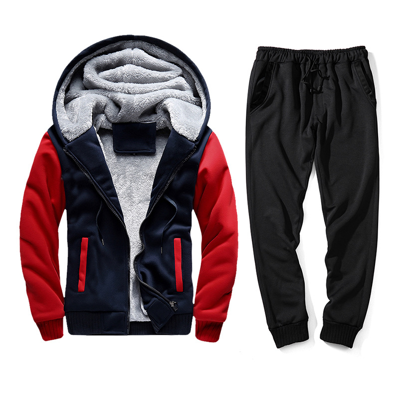 Teenager Autumn And Winter Sports Set Two-Piece Set Contrast Color Hooded Coat Solid Color Trousers Casual Loose-Fit Business At