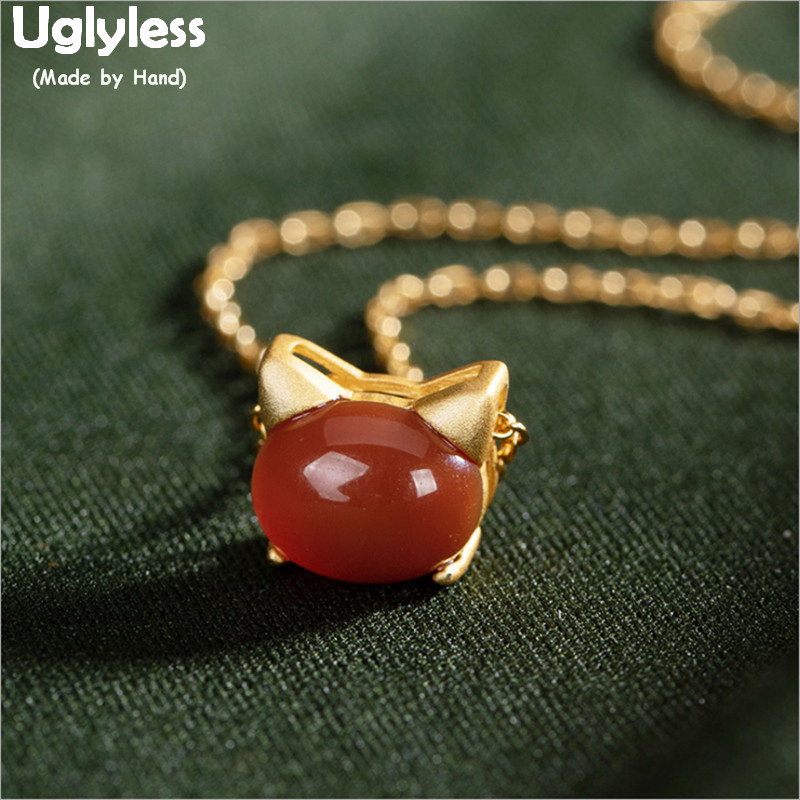 Uglyless Lovely Animal Head Cat Necklaces for Women Oval Agate Pendants +Chains Real Gold Plated 925 Silver Cats Jewelry P1015