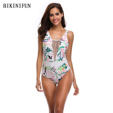 New Sexy White Floral Print Swimsuit Women One Piece Suit Mesh Patchwork Swimwear S-XL Girl Deep V Bathing Padded Monokini