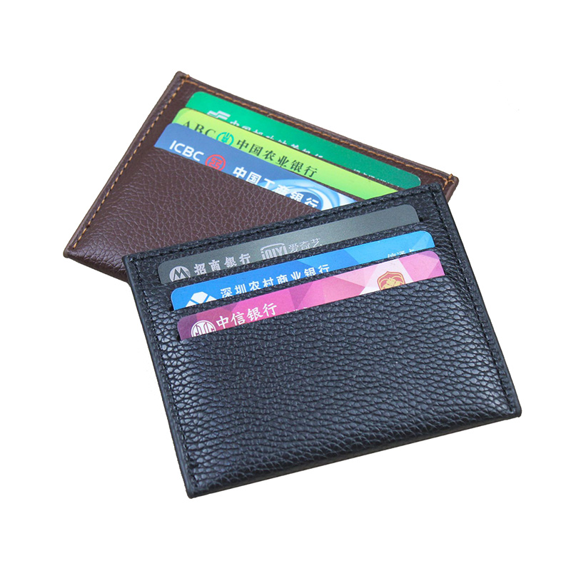 Solid Black Color PU Leather ID Card Holder Thin Light Bank Credit Card Wallet Multi Slot Slim Card Case