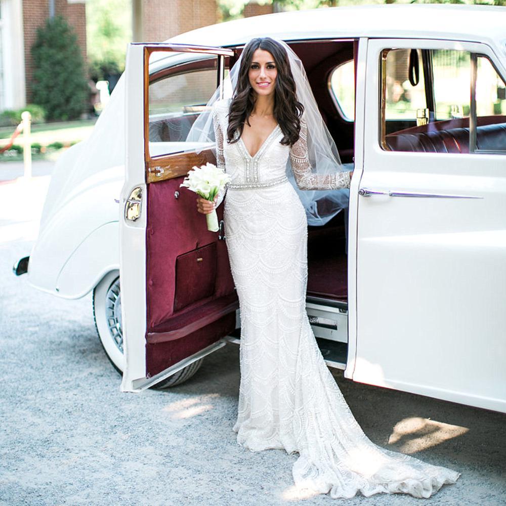 Dubai White Bridal Dresses Long Sleeves Wedding Party Dress Crystal Deep V Neck Lace Mermaid Wedding Dress 2020 Vestido De Noiva