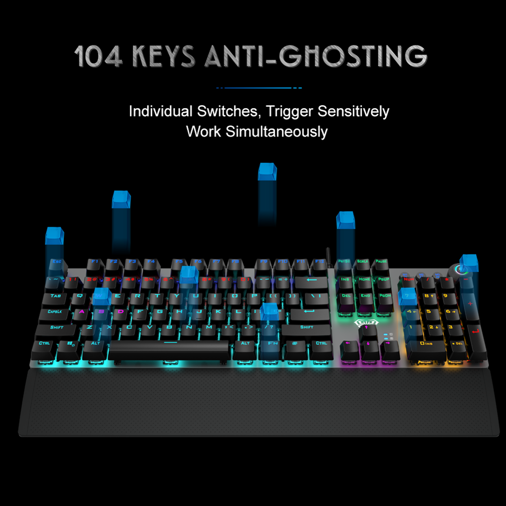 AULA F2088 Gaming Mechanical Keyboard Blue Brown Switch Wired Mix Backlit Keyboard 104 Keys Anti-ghosting for Gamer PC Desktop