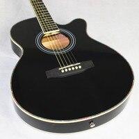 Guitar Acoustic Electric Steel String Balladry Folk Pop Thin Body Flattop 40 Inch Guitarra 6 String Black Light Cutaway Electro