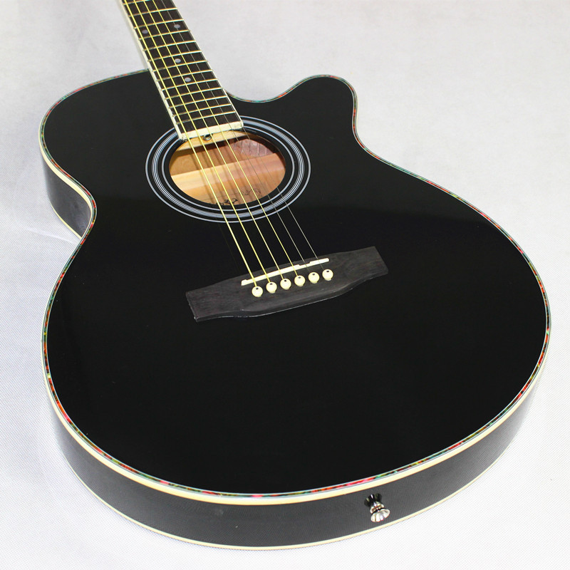 Guitar Acoustic Light Electro Steel-String Black Body Thin 40inch Cutaway Flattop Folk-Pop title=