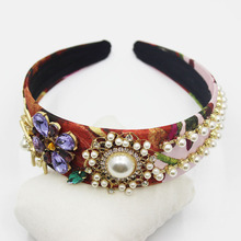 Wedding Hair Accessories Baroque Woman Headband Headdress Bride Pearls Crystals Crystal Crown Rhinestone Head Jewelry