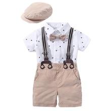 QAZIQILAND Newborn Boy Clothing Outfit Suit Baby Party Short Khaki Hat Suit Birthday Cloth Infant Boy Kid 3 6 9 12 18 24 Month