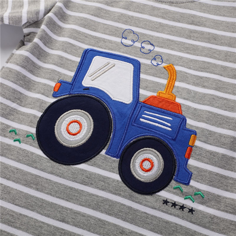 Jumping Meters New Boys Cotton Tops for Summer Children Clothes Hot Selling Stripe Applique tractor Kids T shirts 3
