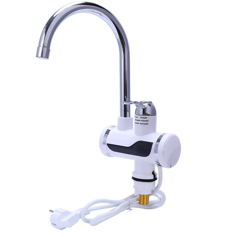 Hlzs-eu Plug électrique cuisine chauffe-eau robinet instantané eau chaude robinet chauffage froid robinet eau instantanée sans réservoir