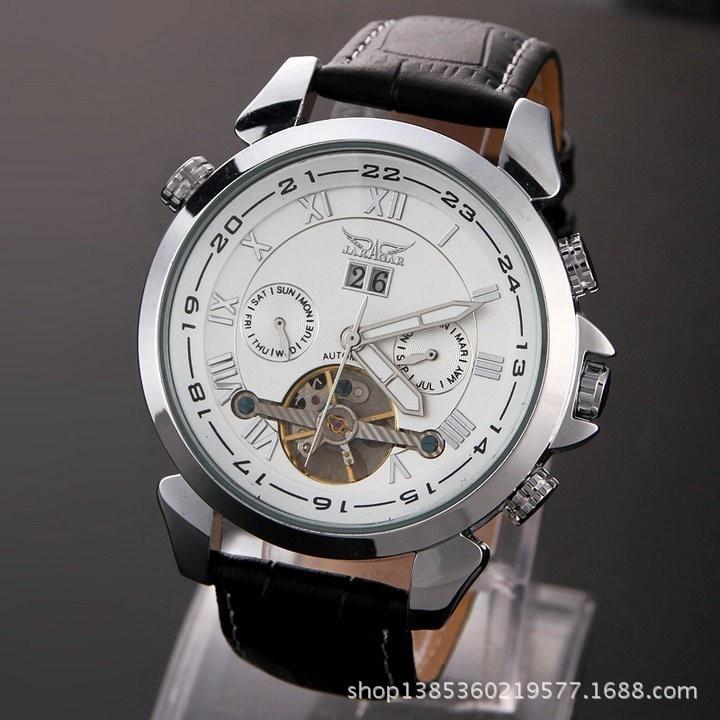 Jargar057 moda casual relógio masculino oco relógio mecânico automático