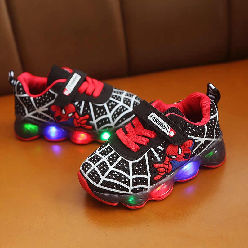 Ragazzi scarpe Da Tennis Delle Ragazze Bambini Spiderman Scarpe LED con Luci di Scarpe Da Ginnastica 2020 Scarpe Autunno della Molla Dei Bambini Del Bambino Del Bambino Luce Up Scarpe