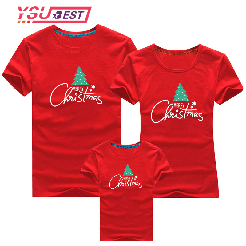 Family Matching Christmas Tops T-shirts Kids Father Mother Clothing Family Christmas Tree Casual Clothes Holy Party Tops Wear