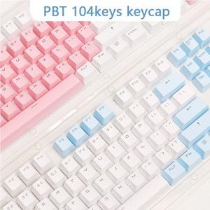 Image 1 - أغطية مفاتيح PBT شفافة بإضاءة خلفية 104 مفتاح غطاء لوحة المفاتيح الميكانيكية غطاء مفتاح مزدوج النار لكرز MX
