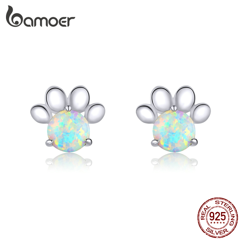 Bamoer 100% Real 925 Sterling Silver Pet Paw Footprint Opal Stud Earrings For Women Wedding Statement Fashion Jewelry BSE346
