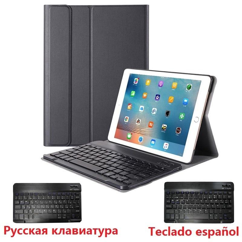 Тонкий чехол для iPad 2018, чехол с клавиатурой A1822, A1893, съемный чехол с клавиатурой с искусственным интерфейсом 2018, 5, 6, чехол с русской и испанск...