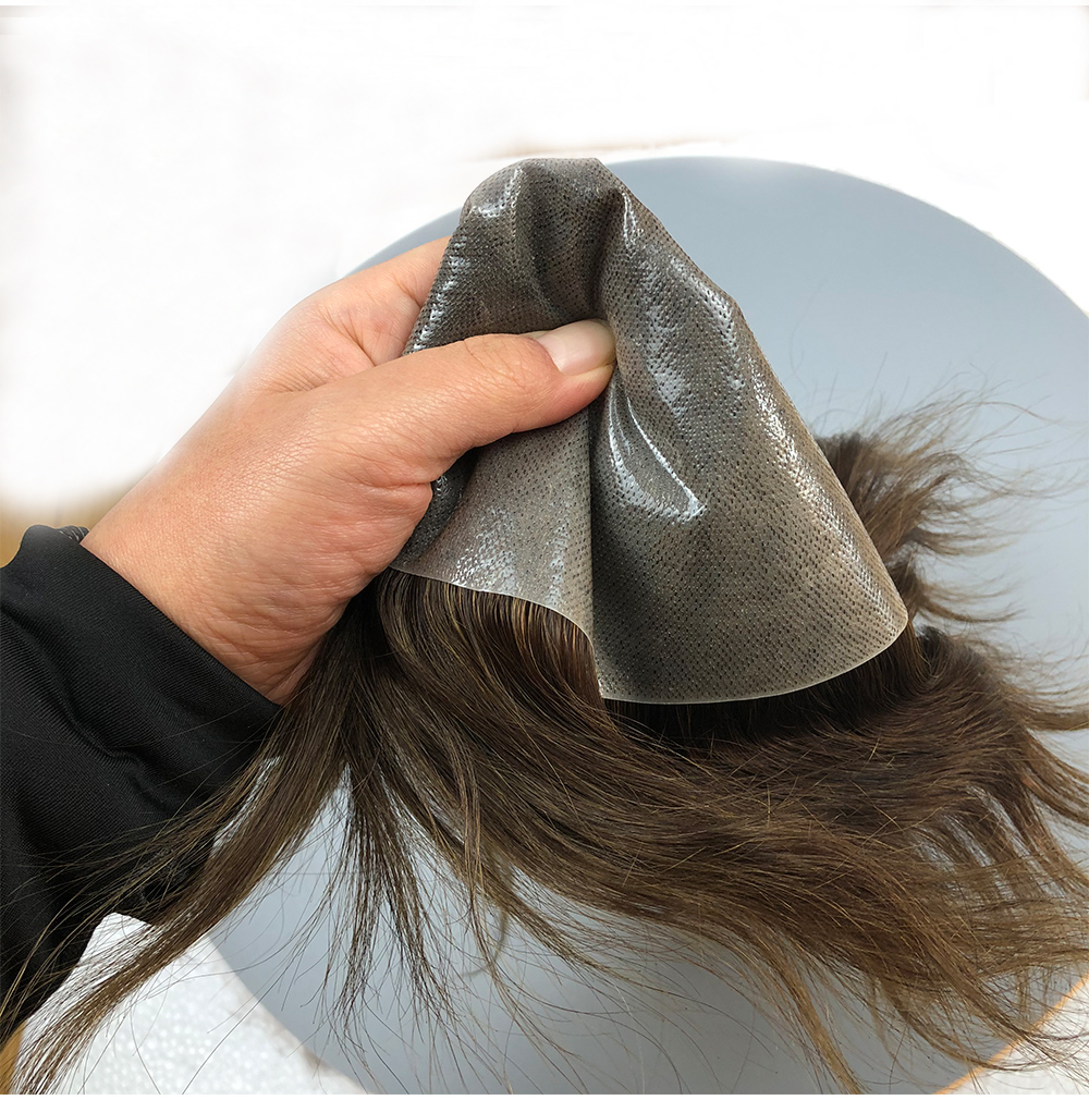 Thin Skin 0.06mm-0.08mm Toupee For Men's Hair Pieces Replacement System Indian Hair Male Wig