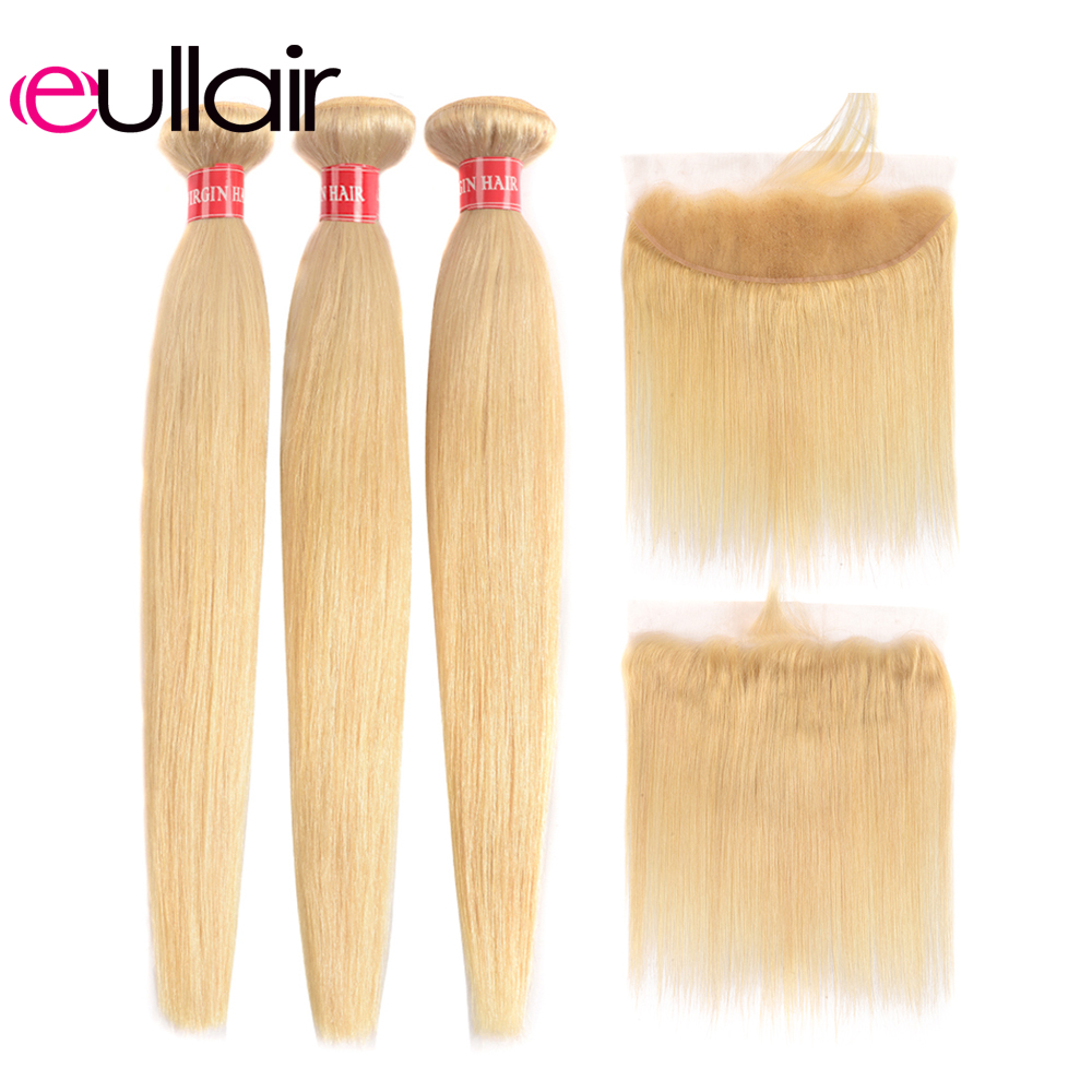 Eullair Straight 613 Hair Bundles With Frontal 3/4PCS Remy Brazilian Blonde Human Hair Weave Bundles With 13*4 Lace Frontal Deal