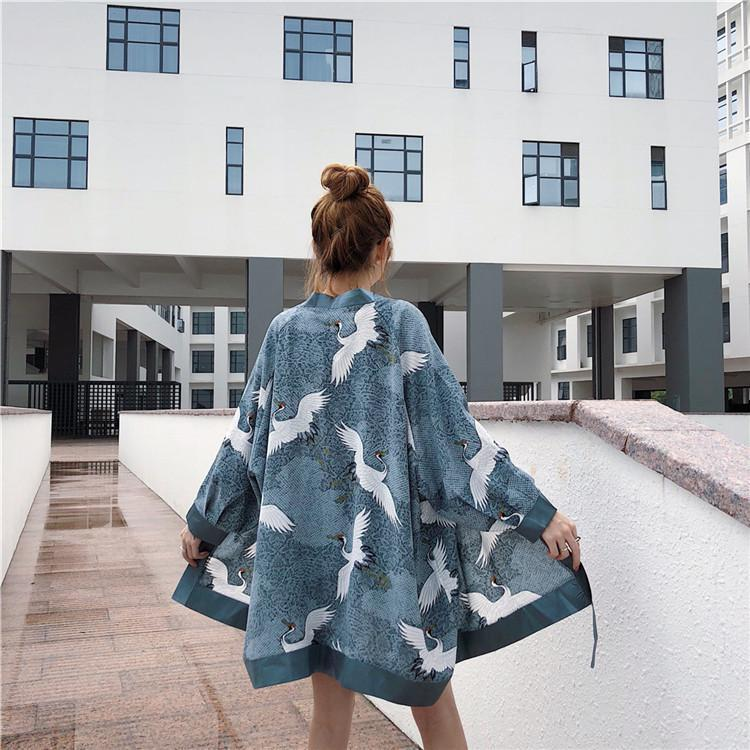 Summer Harajuku Shirt Robe Kimono Japanese Crane Print Long Yukata Jacket Men Women Sunscreen Cardigan Thin Loose Haori Geisha