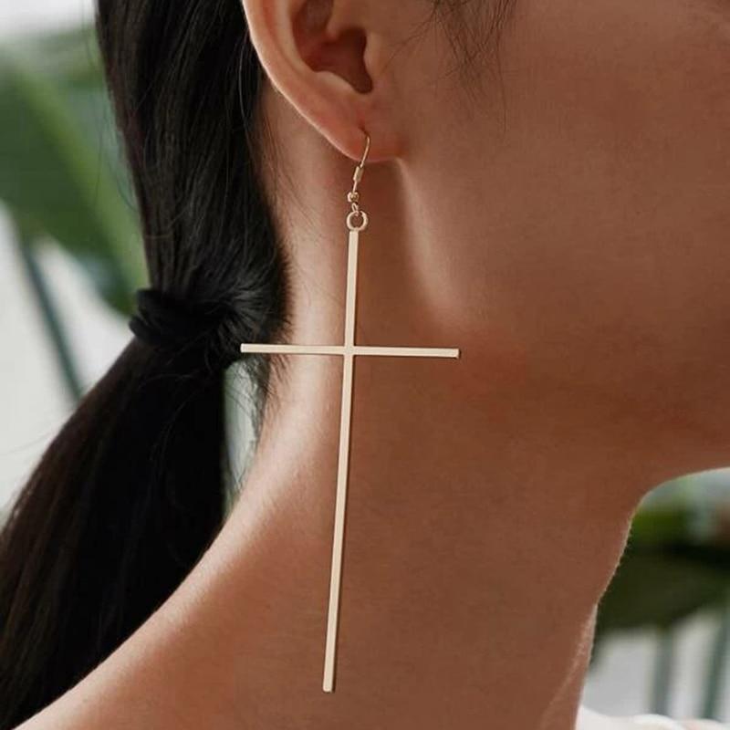 1pair Fashion Bohemian Punk Earrings Jewelry cross shape gold &silver color Earrings Best Gift for Women Girl E048
