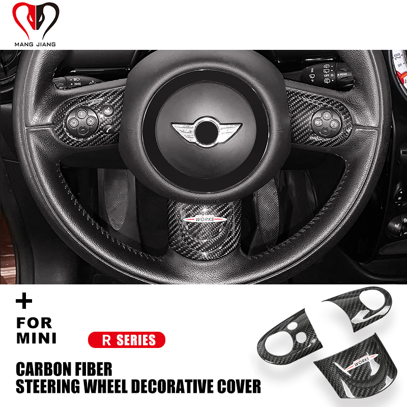 R55 R56 R57 R58 R59 R60 R61 Clubman Countryman For Mini Cooper Steering Wheel Cover Carbon Fiber Interior Decoration Stickers