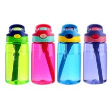 480ml Baby Kids Children Water Bottles Cup Learn Drinking Straw Juice Bottle Sippy Cups Spill-proof 4 Colors
