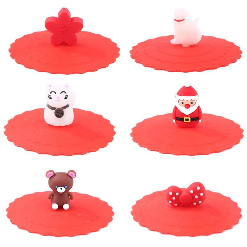 Hot Sale Silicone Cup Cover Delicate Design Cartoon Clear Red Cherry Silicone Cup Cover Heat-resistant Leakproof Reuse Lid