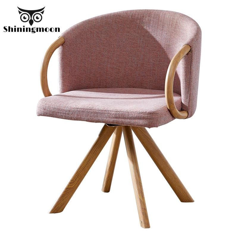 Modern Fashion Minimalist Dining Room Chairs Creative Louis Wood Dining Chair Pink Comfortable Sofa Bedroom Living Room Chair