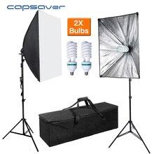Capsaver 2 Set 50*70cm Softbox difusor luz fotografía lámpara estudio luz foto equipo E27 portalámparas con bombillas 2M trípode